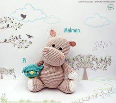 Patrón amigurumi de el hipopótamo Melman y su amigo Pi