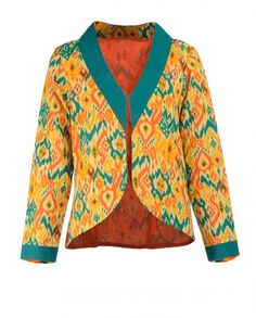Lime Yellow Jacket with Ikat Inspired Prints