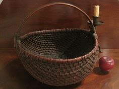 Antique 1800's New England Woven Splint Basket Best Patina  Sold North Bayshore Antiques
