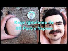 Keçe İğneleme tekniği ile 3D Portre Yapımı - Needle Felted Human Portrait - YouTube