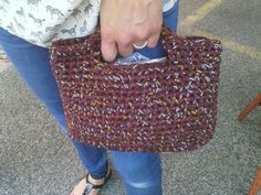 Brown crochet bag