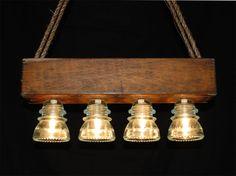 Lámpara de cristal Vintage del aislador