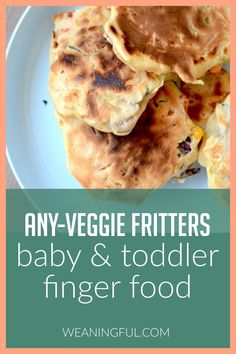 These easy and healthy veggie fritters can be made with almost any vegetable you have on hand, which is a plus if you have a baby, toddler or kid who just won't wait for anything to cook. They're quick to make and make great first foods for baby led weaning (blw). Healthy Baby Food, Healthy Meals For Kids, Meals For One, Kids Meals, Baby Meals, Healthy Recipes, Veggie Recipes, Toddler Finger Foods, Toddler Meals