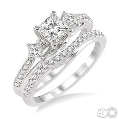 1 1/10 Ctw Diamond Wedding Set with 7/8 Ctw Princess Cut Engagement Ring and 1/4 Ctw Wedding Band in 14K White Gold