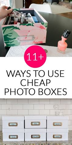 11 Things You Can Organize in Cheap Photo Boxes Looking for cheap storage bins to get your home organization under control? These cheap photo boxes are my favorite and perfect for organizing a huge variety of items in rooms throughout your house. Diy Organizer, Container Organization, Diy Organization, Scrapbook Organization, Cheap Storage Bins, Storage Ideas, Dvd Storage Solutions, Craft Storage, Kitchen Storage