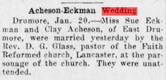 Genealogical Gems: Wedding Wednesday: Sue Eckman weds Clay Acheson