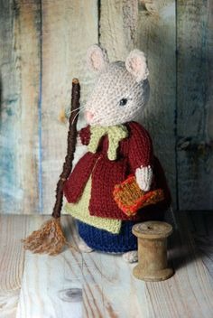 Knitted Cleaning Mouse Lady Fall and Autumn Mouse by AuntieShrews