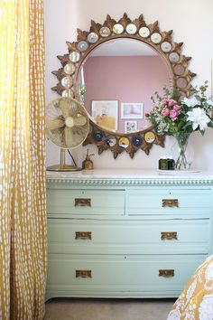 mint green chest of drawers with starburst mirror above Funky Furniture, Plywood Furniture, Upcycled Furniture, Furniture Design, Green Chest Of Drawers, Bedroom Colors, Bedroom Decor, Bedroom Ideas, Restoration