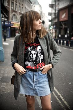 MOOD: Lizzy is making me want to dig out my old blazers and band tees with this look.