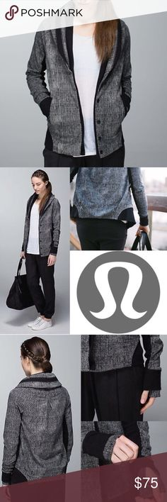 Lululemon to class jacket Double collar and studious look. This jacket is where it's at! Burlap gray and black print, so comfy. Excellent condition. lululemon athletica Jackets & Coats