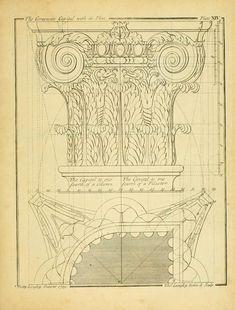 Vintage Ephemera: Architectural Illustration, Decorative Column, 1739