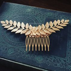 Gold Leaf Hair Comb Bridal Hair Accessories Woodland by Jewelsalem