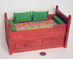 Captain Bunk Style Trundle Bed With Two Mattresses In A Tropical Print And Four…