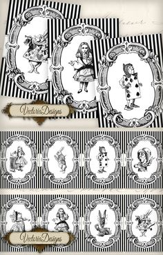Printable Alice in Wonderland ATC images   http://www.etsy.com/listing/128586776/alice-in-wonderland-atc-vintage-images