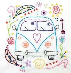 Way Cute Retro Vintage Hippy Van Hand Embroidery PDF Pattern. Features a cute Retro Style Hippy Microbus, decorated with pretty doodles like flowers, feathers, and sunshine that are just waiting to be stitched up!  A super cool pattern to stitch up for a pillow, camp flag, or tote bag. Pattern at regular size fits into 9 or 10 inch hoop.  *PDF will be available for immediate download after your order is complete! If you have any trouble downloading the pattern it can also be sent via email…