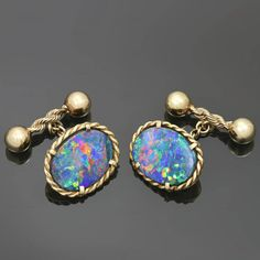 Lightning Ridge Natural Multicolor Doublet Black Opal Cufflinks | /if these are doublets they are not black opals....