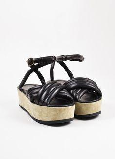 Isabel Marant Grey and Black Suede Leather Padded Ankle Strap Flatform Sandals