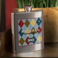 Wingman's Flask by JDS. $37.99. Great Gift for Groomsmen!. Unique!. PLEASE Email seller with your personalization information after ordering!. New Look!. Select design, role (Groom, Groomsman, Best Man, Usher) and personalize with one line of up to 15 characters and year.. A satiny gunmetal finish accented with one of our colorful designs give our Personalized Wingman's Flasks a hip look and feel. Ideal for anyone who enjoys imbibing now and then, this 8 oz. f...