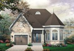 European Style House Plans - 1246 Square Foot Home, 1 Story, 2 Bedroom and 1 3 Bath, 1 Garage Stalls by Monster House Plans - Plan 5-631