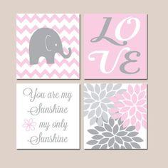 Pink Gray Nursery, Girl Elephant Nursery Wall Art, Baby Girl Nursery Decor, Girl Bedroom Pictures, Sunshine Quote, CANVAS or Prints Set of 4