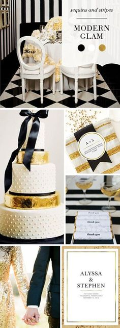 Modern Glam Wedding Inspiration At It's Best With These DIY Tips | Sequins & Stripes | Black + Gold