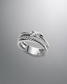 X Crossover Ring with Diamonds by David Yurman at Neiman Marcus.