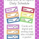 """I made this schedule set by request with a crayons theme.    This is a large set of classroom schedule cards (7 1/2"""" x 2 3/4"""") in two variations.  Ta..."""