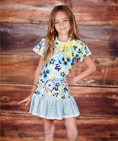 Turquoise & Lime Confetti Bow Dress - Infant & Toddler #zulily #zulilyfinds