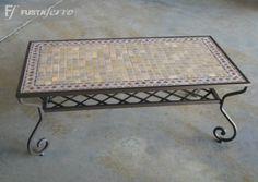 Mesa de centro de forja y mosaico #decoracion #jardin #terraza www.fustaiferro.com