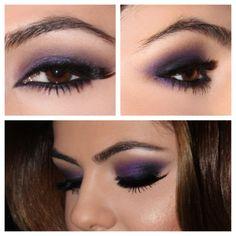 Purple Smoky eye, perfect for hazel or green eyes.