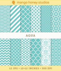 Aqua Digital Paper, Blue Backgrounds, Modern Patterns, Digital Quatrefoil, Moroccan Tiles, Blue Damask, Blue Stripes, Blue Chevron, Scallops...