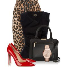 Red & Animal Print In The Office