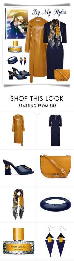 """La Perla Navy Leather Mule with Bee Embellishments"" by romaboots-1 ❤ liked on Polyvore featuring Nina Ricci, Victoria Beckham, La Perla, A.P.C., Me & Kashmiere, Lanvin, Vilhelm Parfumerie and Toolally"