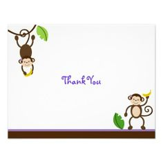 Sweet Girl Monkey Jungle Thank You Note Cards Personalized Invite