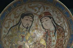 Seljuk Bowl with man with cup and lady.  Another open front coat.
