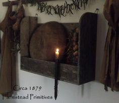 Primitive Early Look Wooden Bowl Rack/Shelf w/Bowl/Gourd Garland & Candle Holder #NaivePrimitive