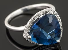 6.42ct Trillion London Blue Topaz With .19ctw Round White Diamonds