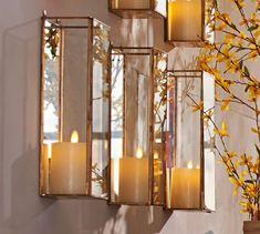 Meredith Mirrored Wall Mount Pillar Candle Box | Pottery Barn