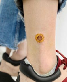 80 Adorable Ankle Tattoos That All Deserve Oscars Sunflower tattoo Sunflower Tattoo Sleeve, Sunflower Tattoo Shoulder, Sunflower Tattoo Small, Sunflower Tattoos, Shoulder Tattoo, Unique Small Tattoo, Tattoos For Women Small, Small Tattoos, Small Colorful Tattoos
