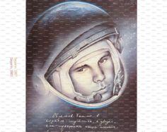 Two Soviet Posters: Russian/Soviet Cosmonauts. Yuri Gagarin. Cosmonauts' Day.