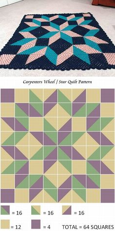 Carpenter's Wheel quilt-style blanket using granny squares (no specific…