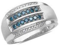 #Jewelry #Ring Men's Blue & White Diamond Wedding Band in 10k White Gold