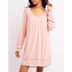 Charlotte Russe Tie-Back Long Sleeve Shift Dress ($33) ❤ liked on Polyvore featuring dresses, blush, long sleeve open back dress, mini dress, v neck dress, pink long sleeve dress and charlotte russe dresses