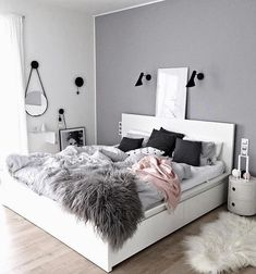 Sublime Useful Tips: Minimalist Living Room Tv Fire Places minimalist home with kids clutter.Minimalist Bedroom Scandinavian Grey minimalist home office decoration.Minimalist Home Office Layout. Dream Bedroom, Home Bedroom, Warm Bedroom, Grey Wall Bedroom, Grey Bedrooms, Bedroom Green, Master Bedrooms, Bedroom Black, Gray Bedroom Decor