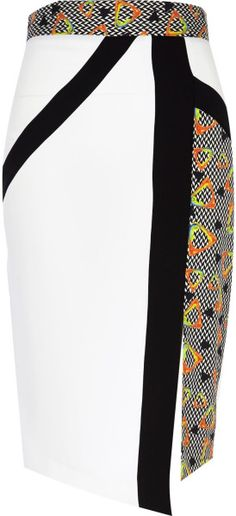 Love this: White Colour Block Print Pencil Skirt @Lyst