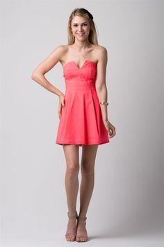 b4687c7db4 Neon Coral Strapless Dress (Petite)