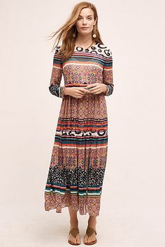 Sierra Maxi Dress -- very interesting!! Funky print and nice cut. It's not often I find a maxi dress with sleeves! #anthropologie