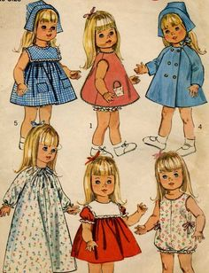 18  Baby Doll Clothes  Sewing Pattern    Simplicity 6768    For dolls: Susie Sunshine, Baby First Step, Goody Two Shoes and more     Pattern is - Cut