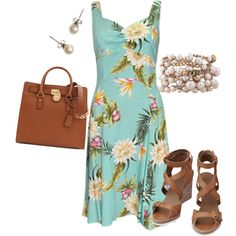 """""""Freshwater Beauty""""on Polyvore #MichaelKors #Hermes #Pearls #Jewelry #Sundress #Dress #Accessories #Shoes #Wedges #WomensFashion #Fashion #Women #SummerFashion"""
