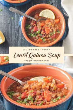 A hearty, high-protein soup that's easy and delicious! Using pantry and fridge staples, this warm and comforting Lentil Quinoa Soup comes together easily. Perfect for any night of the week! Easily customized with your favorite veggies and seasonings. Gluten free w/ an oil-free option. #vegan #soup #lentilsoup #quinoa #vegetarian #dinner #meatless #plantbased Easy Vegan Soup, Vegan Quinoa Recipes, Vegan Soups, Healthy Soups, Lentils And Quinoa, Quinoa Soup, Soup And Salad, High Protein, Soups And Stews